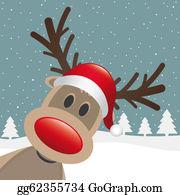 Reindeer-Christmas-Silhouettes - Reindeer Red Nose Santa Claus Hat