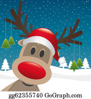 Falling-Snow-Background - Reindeer Red Nose Hang Christmas Tree