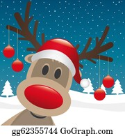 Falling-Snow-Background - Reindeer Red Nose Hang Christmas Balls