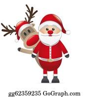 Antler - Reindeer Red Nose Behind Santa Claus