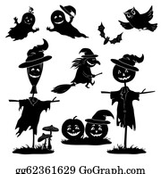 Scarecrow - Halloween Cartoon, Set Black Silhouette