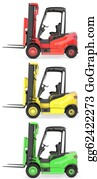 Hydraulic - Three Fork Lift Trucks Colored As Traffic Lights