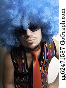 Wig - Crazy Guy With Sunglasses And Blue Wig