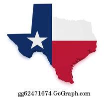 Texas-State-Flag - Texas Map 3d Shape