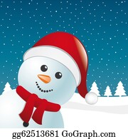 Falling-Snow-Background - Snowman Scarf And Santa Claus Hat