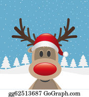 Falling-Snow-Background - Reindeer Red Nose Santa Claus Hat