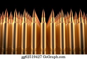 Long-Gun - Rifle Bullets Lined In Formation. 3d Illustration.