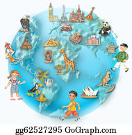 Multi-Ethnic-Group - Globe With Multicultural Kids