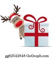 Antler - Reindeer Christmas Gift Box Red Ribbon