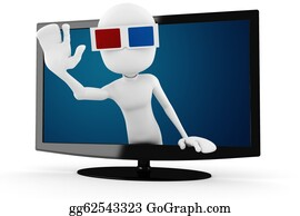 People-Watching-A-Movie - 3d Man With 3d Glasses Popping Out Form A Tv