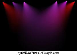 Dance-Of-Lights-In-The-Dark - 3d Stage Lights On Black Background