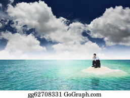 Employment - A Businessman Get Stuck On Island. A Concept Of Businessman Facing A Dead End, Frustration And Hopeless Situation In Business. Can Also Be Use To Illustrate Unemployment Or Financial Crisis Concept.