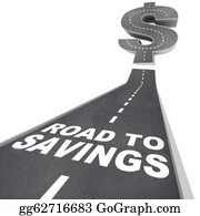 Economy - Road To Savings Dollar Sign Save Money Find Discounts Sale