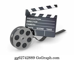 Movie-Production - Movie Industry. Clapperboard And Film Reel.