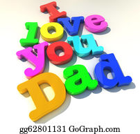 I-Love-You-Dad - I Love You Dad Over White Background