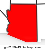 Southwest - Arizona Red Abstract 3d State Map United States America