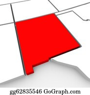 Southwest - New Mexico Red Abstract 3d State Map United States America
