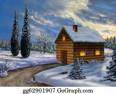 Cabin - Christmas Landscape