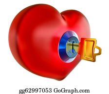 Golden-Love-Hearts - Red Heart With Golden Key