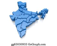 Map-Of-India - Three-Dimensional Map Of India