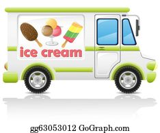 Food-Truck - Car Carrying Ice Cream Illustration