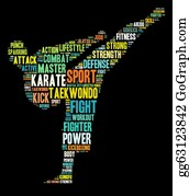 Karate - Martial Arts Info-Text Graphics And Arrangement Word Clouds Conc