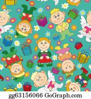 Leprechaun-Woman - Seamless Background: Kids With Gifts And Hearts