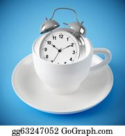 Blue-Bell - Alarm Clock In The White Cup On Blue Background