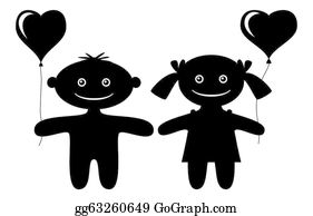 Babies-And-Toddlers-Silhouettes - Children With Heart Balloons, Silhouette