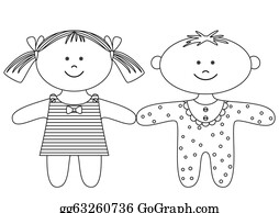 Babies-And-Toddlers-Silhouettes - Rag Dolls, Contours