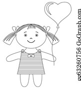 Babies-And-Toddlers-Silhouettes - Girl With Heart Balloon, Contour