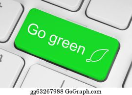 Recycle-Technology - Go Green Button On Keyboard Background