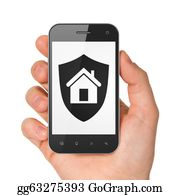 House-Alarm-Concept-Icon - Hand Holding Smartphone With Shield On Display.