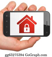 House-Alarm-Concept-Icon - Hand Holding Smartphone With Home On Display. Generic Mobile Smart Phone In Hand On White Background.