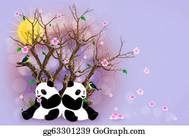Panda - Lilac Greeting Card With Pandas