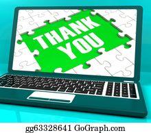 Appreciation - Thank You On Laptop Shows Appreciation