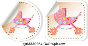 Babies-And-Toddlers-Silhouettes - Baby Stroller: Baby Stroller In Stickers Label Tag Set