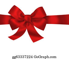 Wrap - Red Gift Ribbon Bow Isolated On White Background. Bright Holiday Illustration