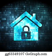 House-Alarm-Concept-Icon - Security Concept: Home On Digital Background