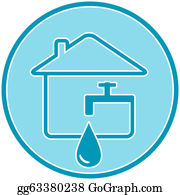 Plumbing - Icon With Drop, Faucet And House