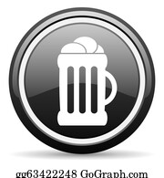 Beer - Beer Black Glossy Icon On White Background