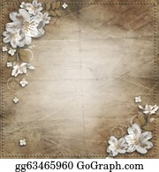 Congratulations - Vintage Background With Frame And Flowers For Congratulations And Invitations