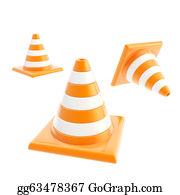 Roadworks - Roadworks Orange Cone Composition Isolated