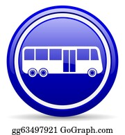 Bus-Drivers - Bus Blue Glossy Icon On White Background