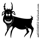 Goat-Cartoon - Cheerful Goat, Black Silhouette