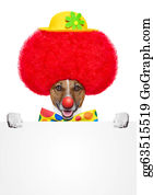 Wig - Clown Dog With Red Wig And Hat