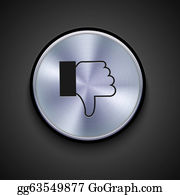Dislikes - Vector Metal Icon On Gray Background. Eps10