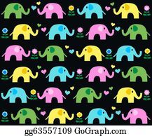 Blue-Elephant - Seamless Elephant Background