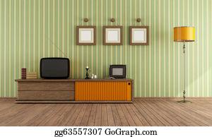 70s - Retro  Tv In A Living Room