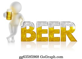 Beer - 3d Man With Pitcher Resting On The Beer Word